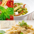Collection of different type of Italian pasta collage Royalty Free Stock Photo