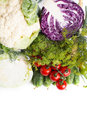 Collection of different varieties of cabbage and fresh vegetables on a white background. Royalty Free Stock Photo