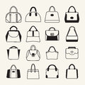 Collection of different women and men handbags set icons travel bag in sketch style Stock Photography