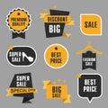 Collection of discount badges, Super sale, big sale on flat designe