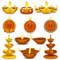 Collection of diwali decorated diya illustration Royalty Free Stock Photography