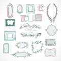 Collection of doodle frames for wedding Royalty Free Stock Photo
