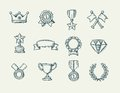 Collection of doodle handdrawn award icons