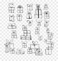 Collection of doodle sketch christmas gift boxes Royalty Free Stock Photo