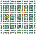 Collection of doodled icons for every occasion vignette with shadows on background in colours individual illustrations are Royalty Free Stock Photography