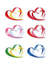 Collection of Double Hearts Royalty Free Stock Image