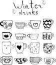 Collection of drawn cups of tea and coffee. Winter drinks.