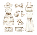 Collection of dresses and accessories Stock Photos