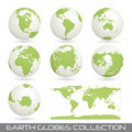 Collection of earth glob, white-green Royalty Free Stock Image