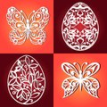 Collection of easter eggs for laser cutting. Decorative butterflies for laser cutting.