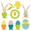 Collection of easter theme icons Stock Photo