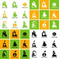 Collection of ecological logos on the topic of waste processing and clean production