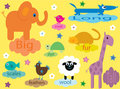 Collection of educational animals for children Stock Images