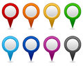 Collection eight colorful blank gps navigation map icons symbols white background Stock Images
