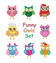 Funny cute different cartoon owls collection. vector illustration