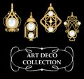 Collection of elegant gold earrings with pearls art deco symmetric classic design jewel for festive occasions vector Stock Photos