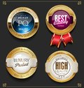 Collection of Elegant golden premium quality labels Royalty Free Stock Photo