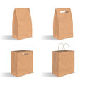 Collection of empty brown paper bag with handles. Realistic kraft package with shadows on white background. Set