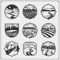 Collection engraving landscapes with rural, montain, night landscape. Fields, meadows and village.