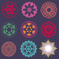 Collection of esoteric flower elements Royalty Free Stock Image