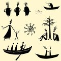Collection of ethnic characters men ethno set Royalty Free Stock Image