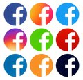 Collection of Facebook color round logos