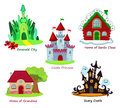 Collection of fairy houses on white background.