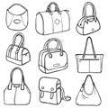 Collection of fashion handbags