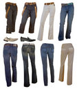 Collection fashion jeans Stock Photos