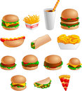 Collection of Fast Food Icons Royalty Free Stock Photo