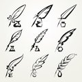 Collection feather pen and ink Royalty Free Stock Photo