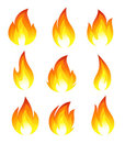 Collection of fire icons Royalty Free Stock Photo
