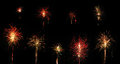 Collection of fireworks isolated on background Royalty Free Stock Photo