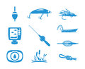 Collection of Fishing icons Royalty Free Stock Photo
