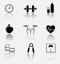 Collection of fitness, sport icons. Royalty Free Stock Photo