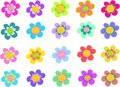 Collection of Five Petal Spiral Flowers Royalty Free Stock Photo