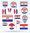 Collection Flag of Croatia, vector illustration Royalty Free Stock Photo