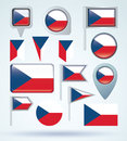 Collection Flag of czech republic, vector illustration Royalty Free Stock Photo