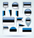 Collection Flag of Estonia, vector illustration Royalty Free Stock Photo