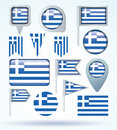 Collection Flag of Greece, vector illustration. Royalty Free Stock Photo