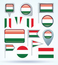 Collection Flag of hungary, vector illustration Royalty Free Stock Photo