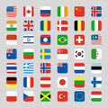 Collection of flag icon rounded square flat vector illustration Royalty Free Stock Photo