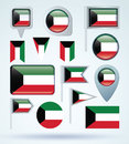 Collection Flag of Kuwait, vector illustration. Royalty Free Stock Photo