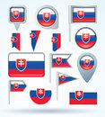 Collection Flag of Slovakia, vector illustration Royalty Free Stock Photo