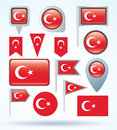 Collection Flag of Turkey, vector illustration. Royalty Free Stock Photo