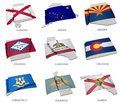 A collection of the flags covering the corresponding shapes from some united states realistic flag alabama alaska arizona arkansas Stock Photos