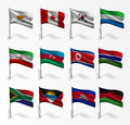 Collection of flags of world on flagpole