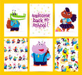 Collection of flat back to school card designs with lettering, animals and seamless backgrounds.