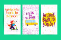 Collection of flat back to school card designs with lettering, cartoon happy fox student portrait riding scooter, yellow school bu