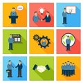 Collection of flat business people meeting at office conference presentation pictograms vector illustration Royalty Free Stock Images